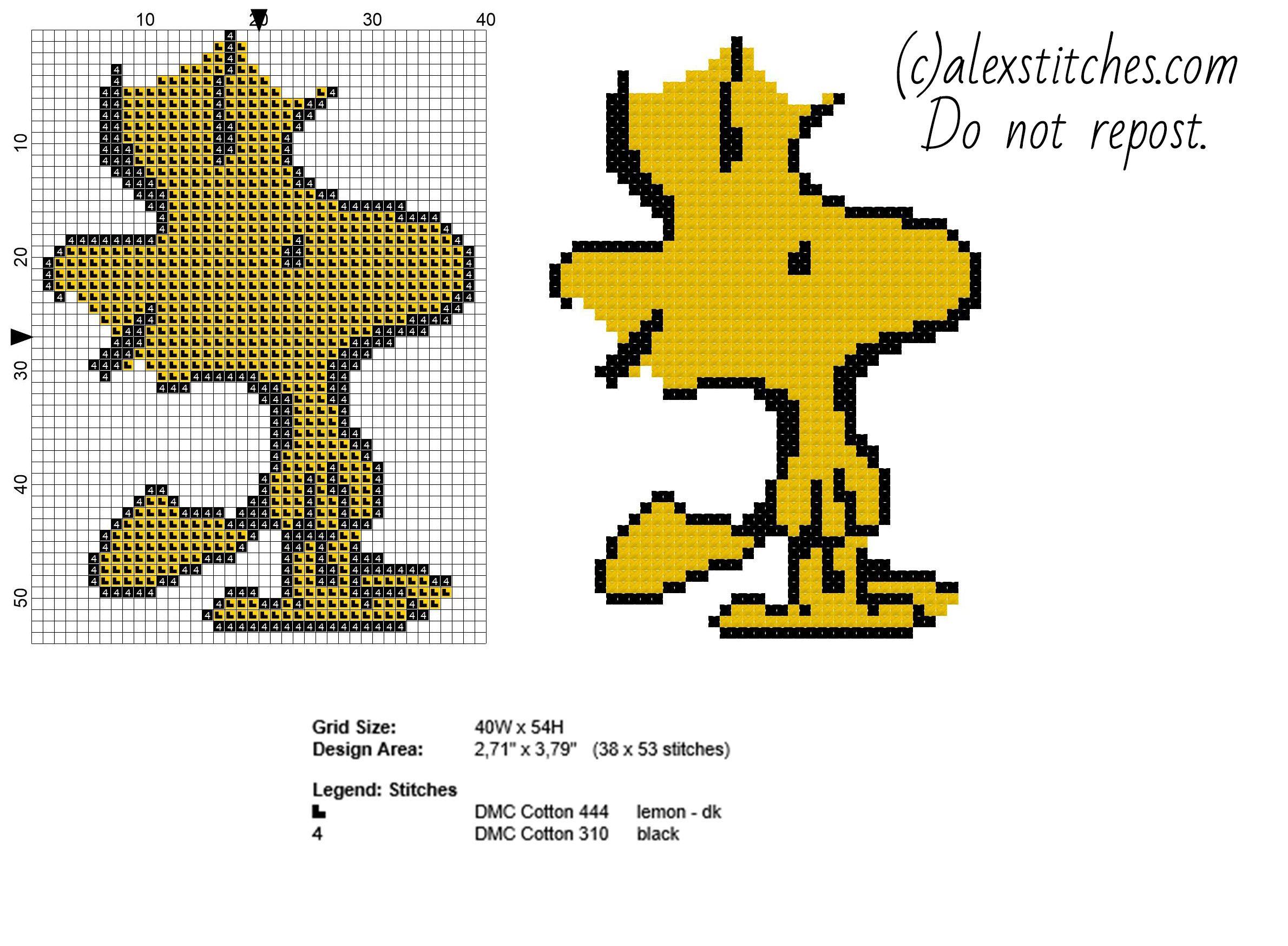 Woodstock Peanuts character free cross stitch pattern - free cross stitch patterns by Alex