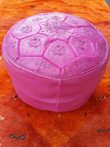 Moroccan Pouf Ottoman Hot Pink Fushia Magenta Living Room Footstool Ebay With Images Footstool Living Rooms Living Room Leather Moroccan Pouf