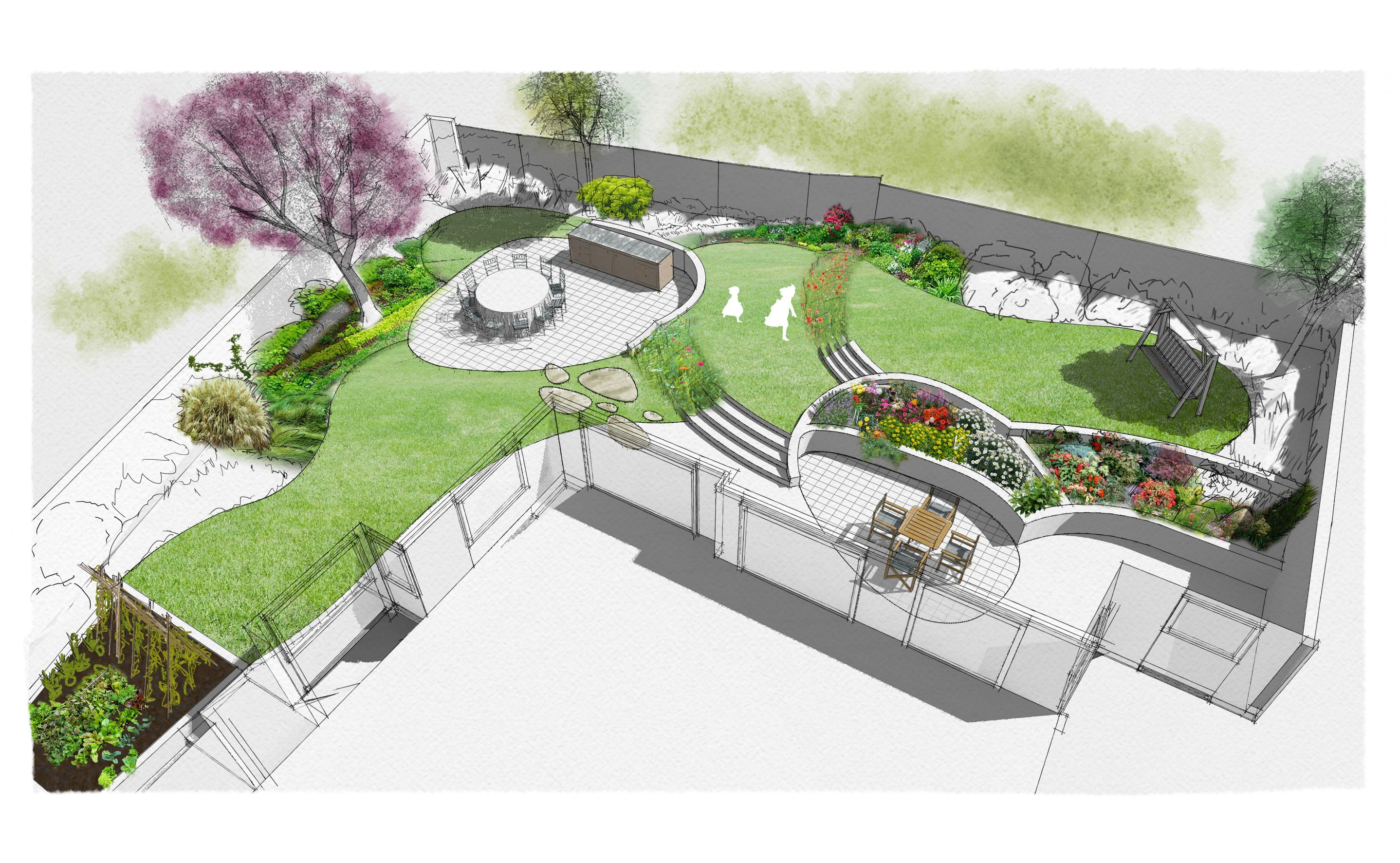 Garden Design Garden Planning Garden Landscaping Landscaping Architecture 3d Drawings Visualisations Illustration Perspective Drawing Design