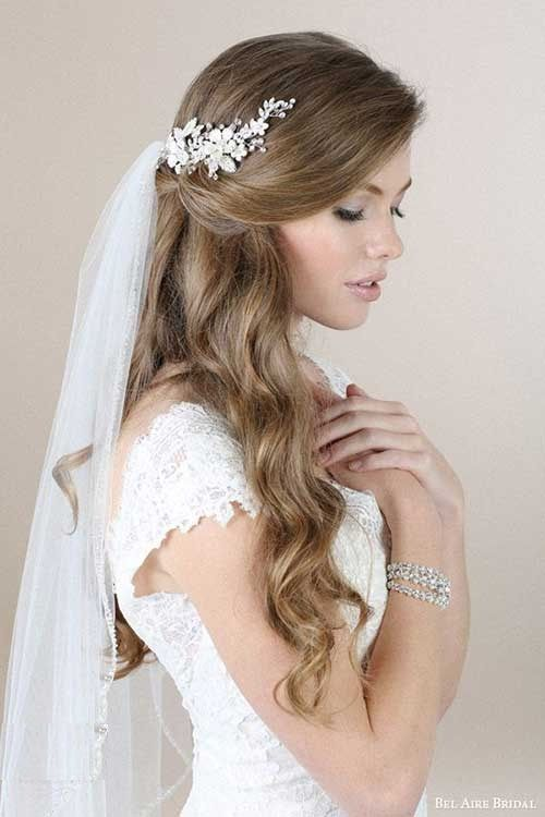 half up half down bridal hairstyles with veil