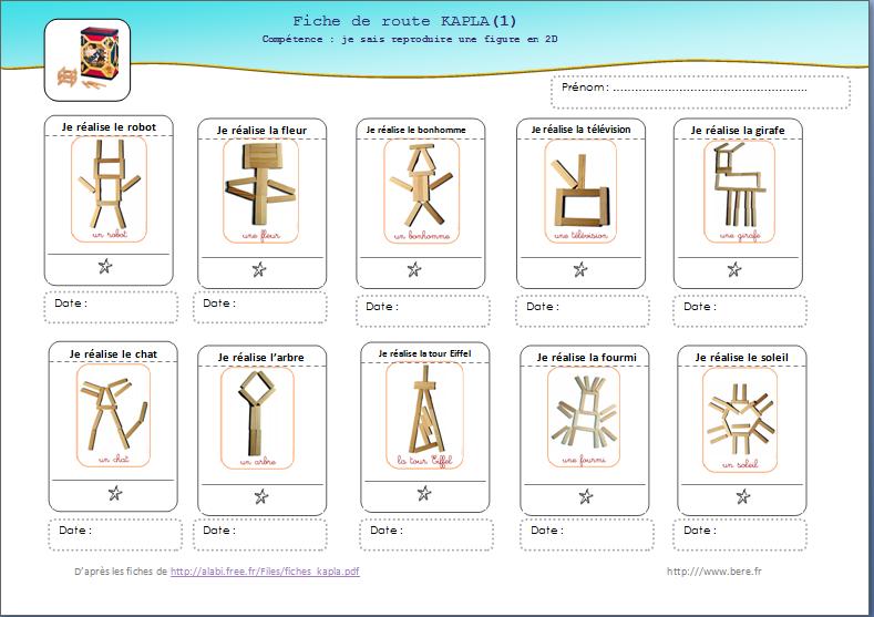 une version individuelle de suivi pour les fiches kapla de la maternelle des loupiots ecole. Black Bedroom Furniture Sets. Home Design Ideas