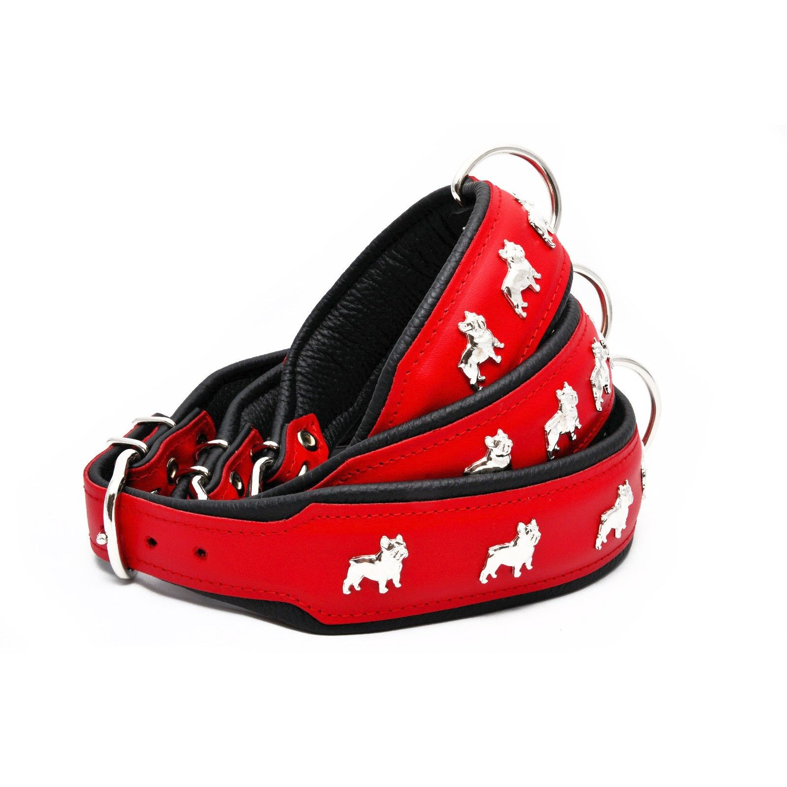 Genuine Leather Thick Padded Dog Collar in Red / Black