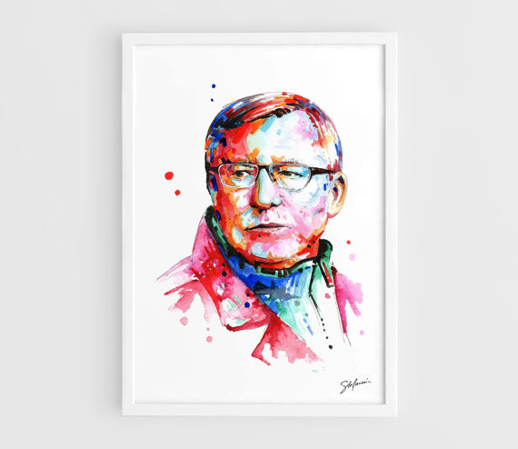 Just bought this for my lover. He's going to be so stoked!  Sir Alex Ferguson SAF (Manchester United) - A3 Art Prints of the Original Watercolors.