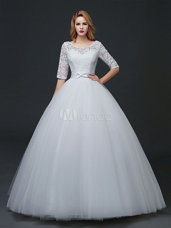 Princess Wedding Dresses Half Sleeve Backless Bridal Dress Lace ...