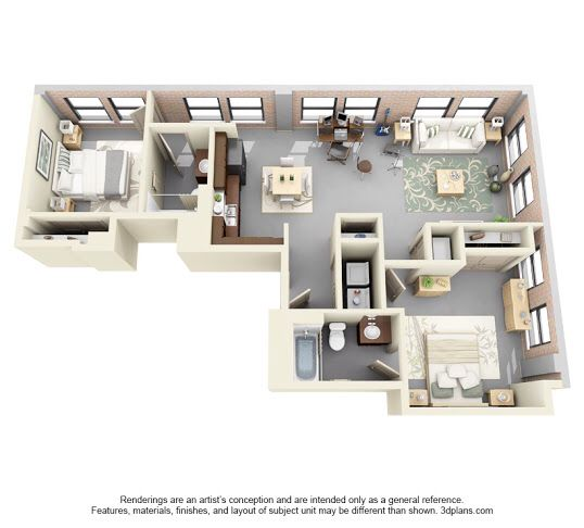 1 Bedroom Loft Apartment: INSPIRED PERSPECTIVE One Bedroom Lofts Lease For $654/mo