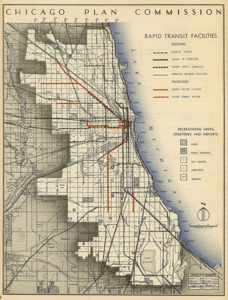 Ny Subway Map Facilities.Historical Map Chicago Plan Commission Rapid Transit Facilities
