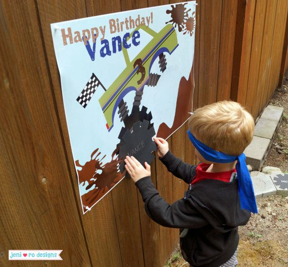 Boys Personalized Monster Truck Birthday party GAME printable! This listing  is for a customized Pin