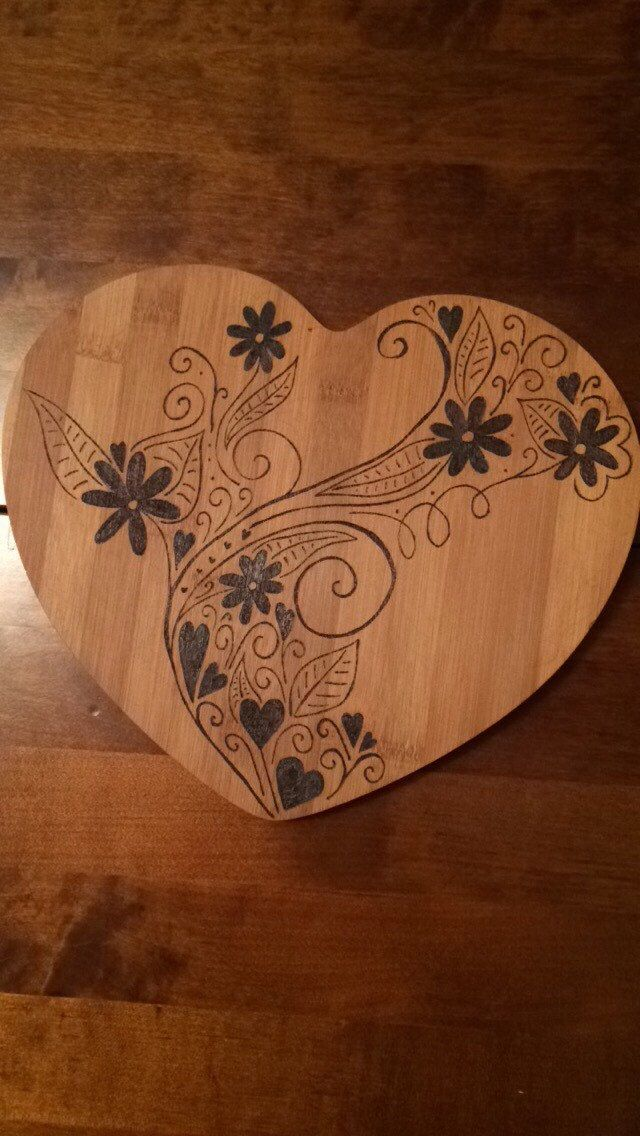 Swirly Heart Board Bamboo chopping board with wood burned flower pattern - hand burned using pyrography tool beautiful gift for the kitchen (19.50 GBP) by RockeryCottage