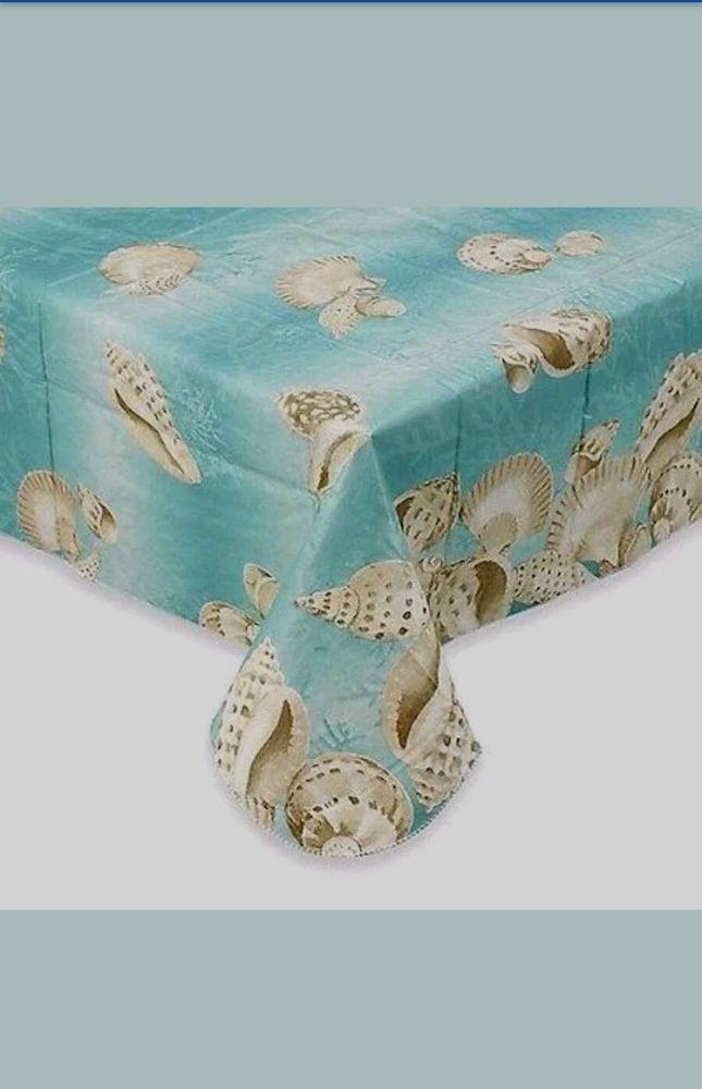 Amazing Details About Seashell Border Vinyl Tablecloths Aqua Coastal Asst Sizes