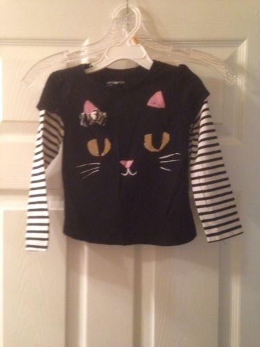 Baby GAP Black and White Halloween Cat Shirt sz 3T