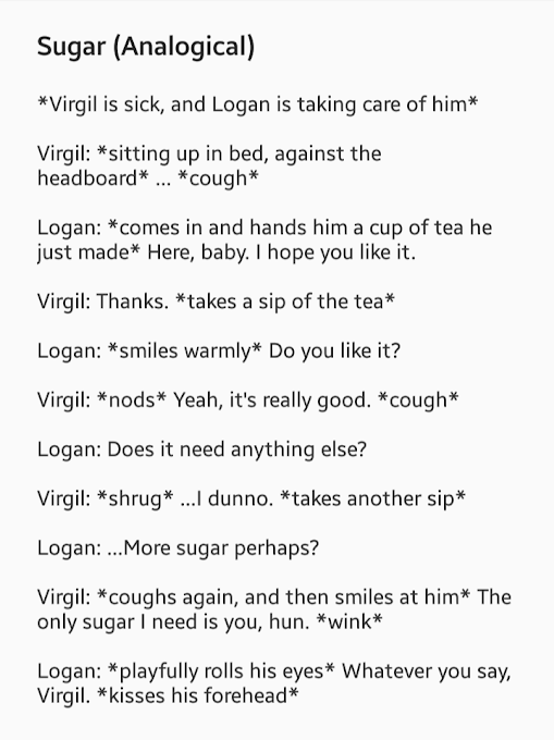 A short dialogue bit between Logan and Virgil  Yes, this is