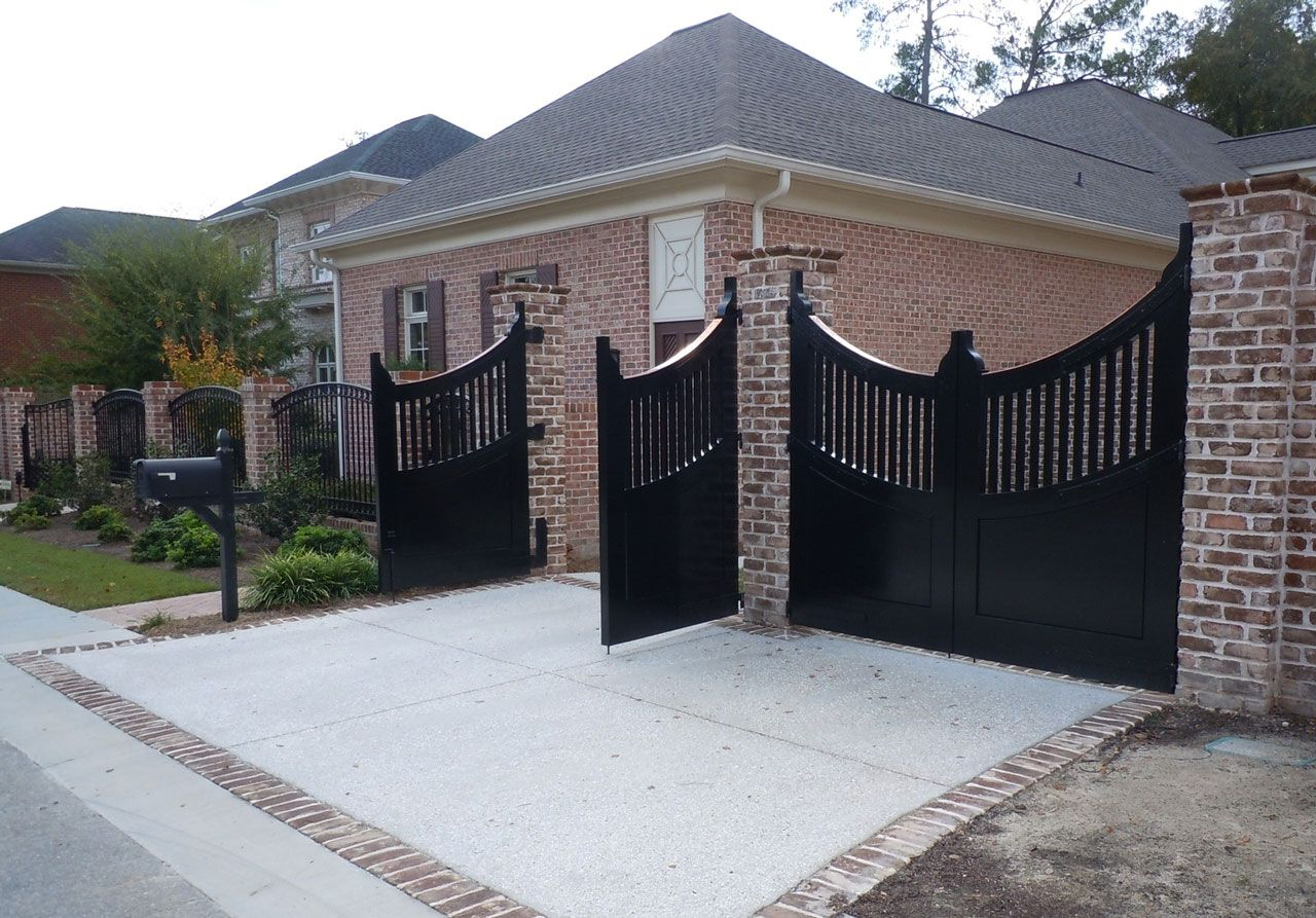 Black Painted Mail Box Ideas Plus Brick Fence With Amazing Metal Gate Design  And Grey Roof Tile