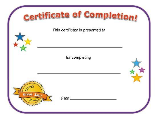 Certificate Of Completion  Work    Certificate Blank