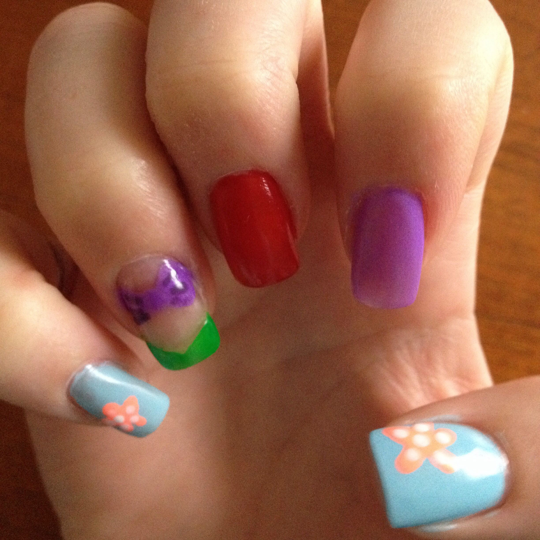 Diy Fashion Beauty Youtube: Little Mermaid Inspired Nails. Idea From Miss Jen Fabulous