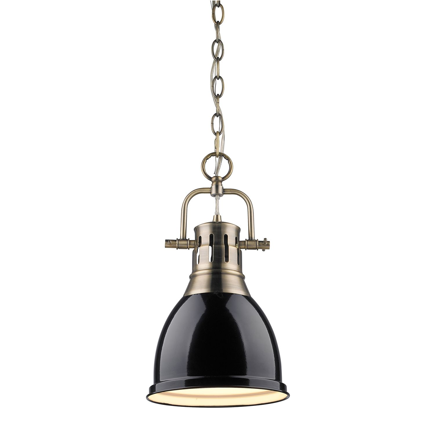 Golden Lighting 3602 S Ab Bk Duncan Mini Pendant With Chain In Aged Brass With A Black Mini Pendant Lights