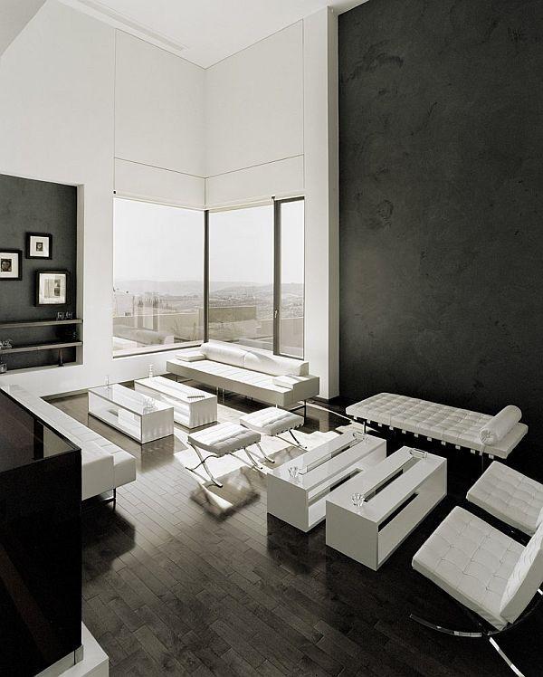 Contemporary Abu Samra House In Amman Jordan Black White Living Room Living Room Designs Modern White Living Room
