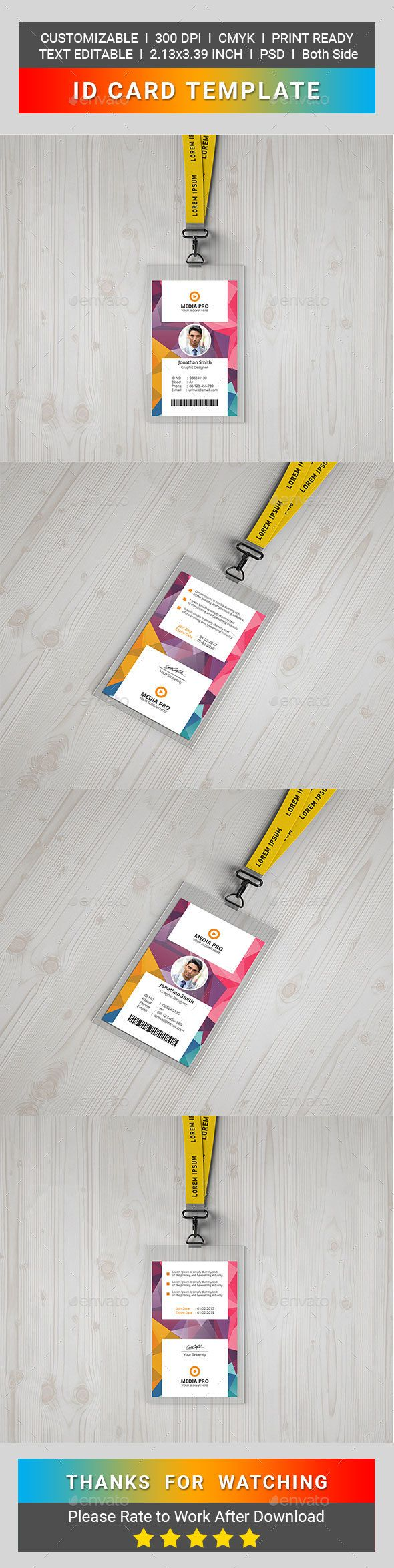 ID Card - Miscellaneous Print Templates | print template | Pinterest ...