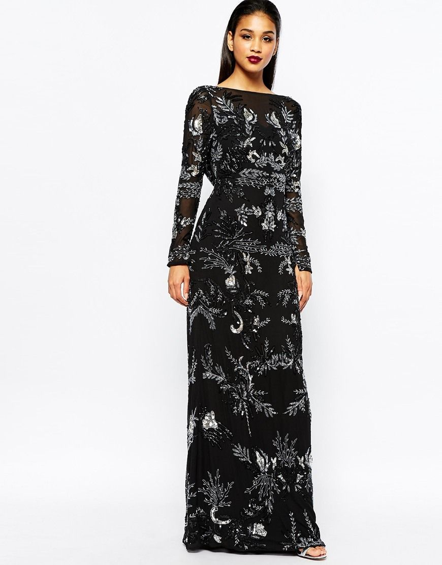 83460f3da Virgos Lounge Angelina Embellished Long Sleeve Maxi Dress With Open