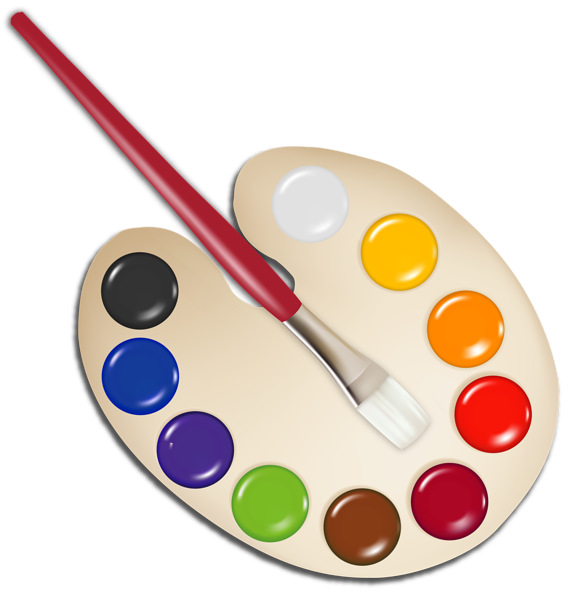 Palette With Paint Brush Png Image Clip Art Palette Art Paint Brushes