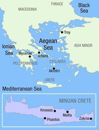 Map Of Minoan Crete And Environs History Geography Maps Minoan