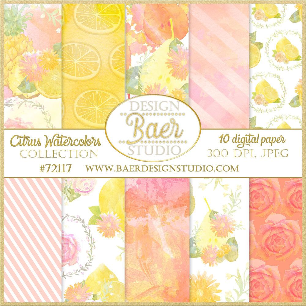 Lemon Digital Paper Watercolor Digital Paper Pineapple Digital