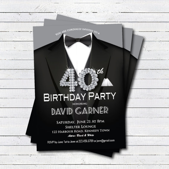 40th Birthday Invitation Man Black Tie And Suit Diamond Bling Gala Dinner Party Printabl