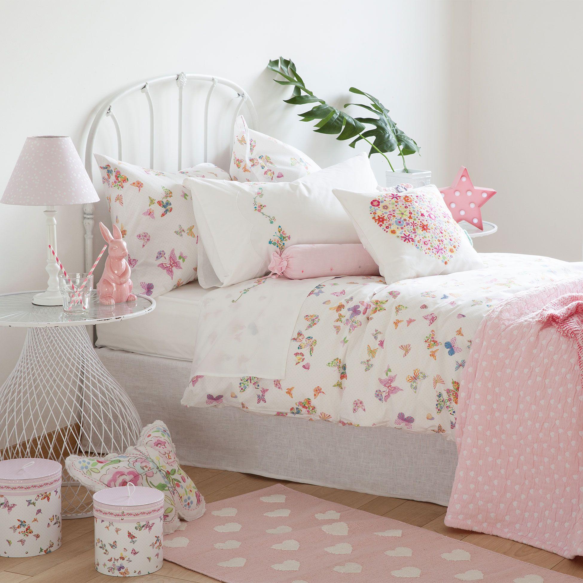 S banas y fundas estampado mariposas deco infantil zara home cama dormitorio shabby chic y Sabanas para ninas