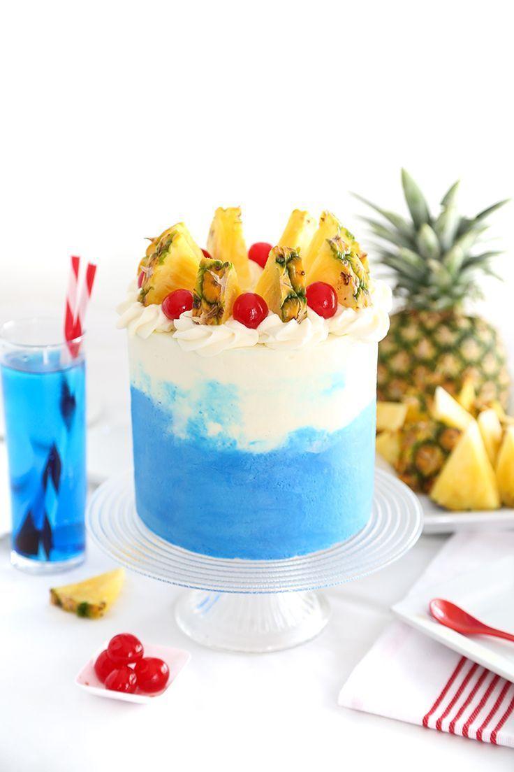 Blue hawaiian layer cake hawaiian birthday cakes