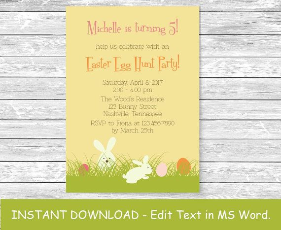 Instant Download MS Word Template by PaperandPrintables on Etsy - invitations word template