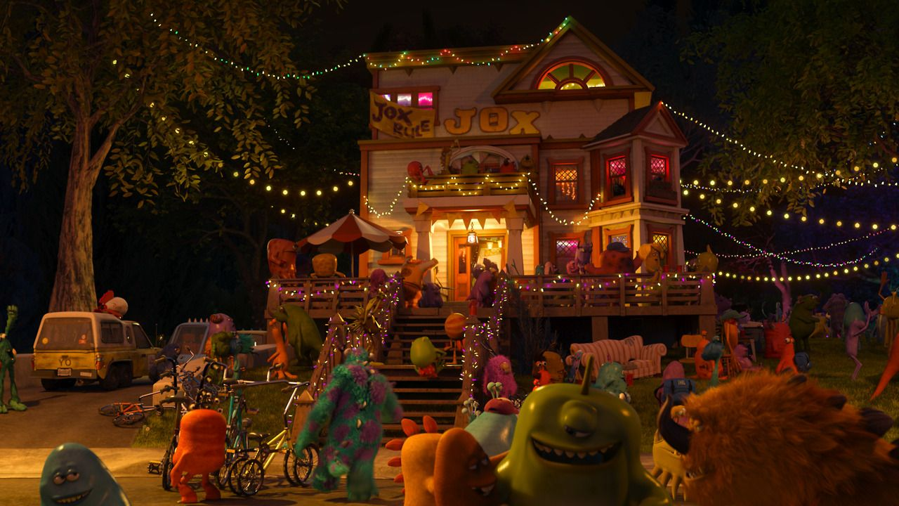 "Spot the Pizza Planet truck. It makes an appearance in ""Monsters University"" in the driveway of the JOX fraternity."