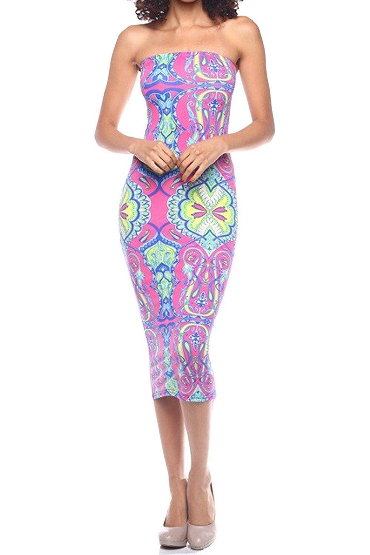 Amazon Com Vvk Womens Plus Size Summer Bodycon Strapless Slim Fitted Basic Midi Tube Dress Clothing Tube Dress Strapless Dress Formal Plus Size Summer [ 1500 x 1000 Pixel ]