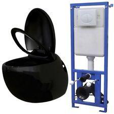 Black Bath Wall Toilet Egg Concealed Cistern Set Bathroom ...