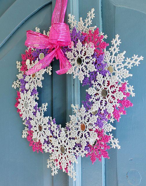 Glitter Snowflake Wreath by hi sugarplum! using those clearance - christmas clearance decor