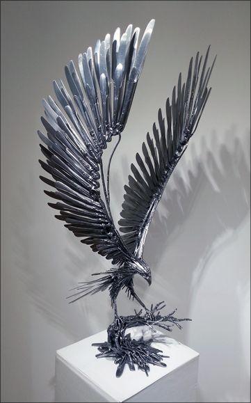 Air Animals Carl Sean Mcmahon Cutlery Art Metal Art Projects Steel Art