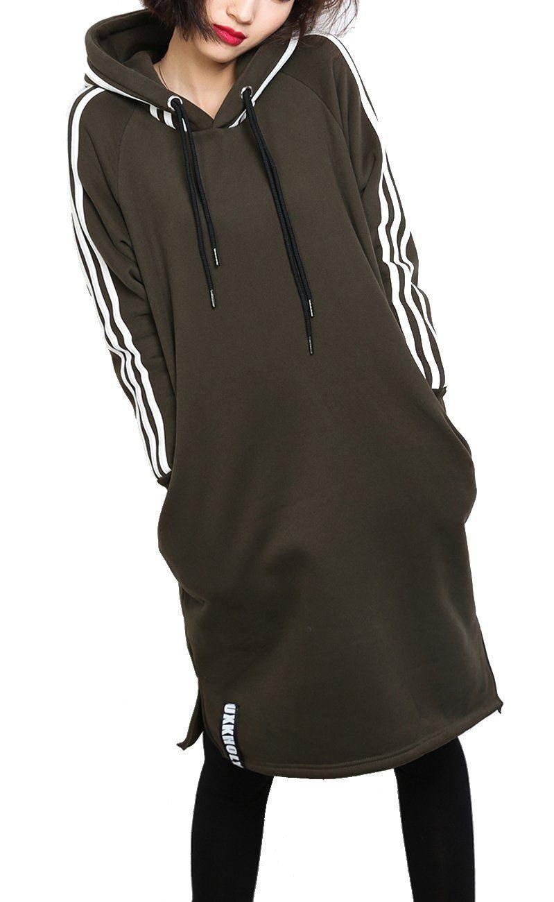 ELLAZHU Women Winter Drawstring Slits Stripe Long Hoodie Onesize GY773 Green at Amazon Women's Clothing store: