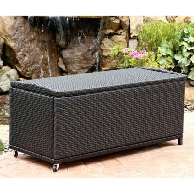 Superb Abbyson Living Pasadena Outdoor Wicker Storage Ottoman In Ocoug Best Dining Table And Chair Ideas Images Ocougorg