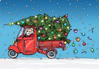 Anet Vespa Met Kerstboom Kaart Voorzijde Kerst Kaarten Kerst Auto Kerstgroeten