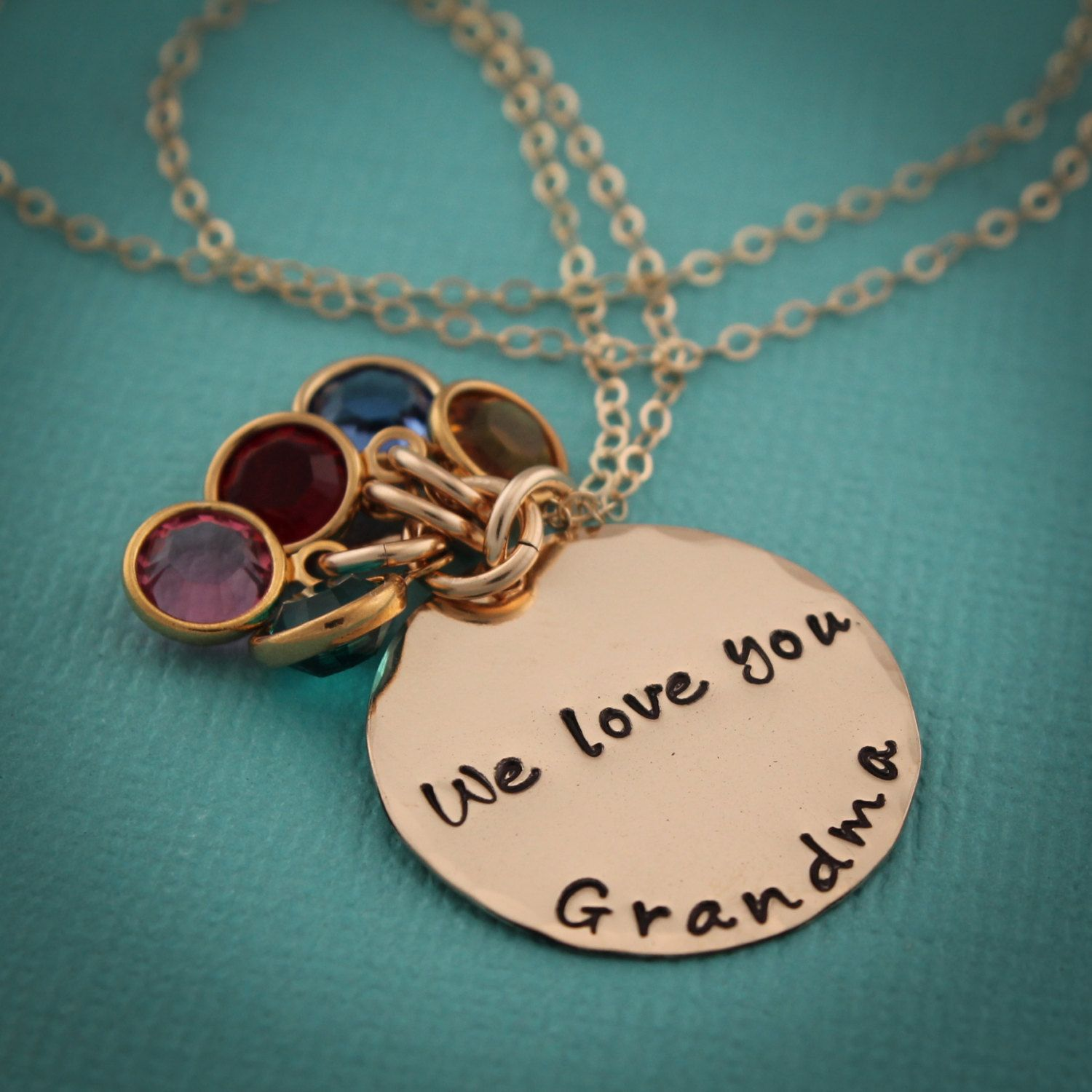 Gold Grandma Necklace With Birthstones Grandmother Necklace In Etsy Grandmother Necklace Grandma Necklace Hand Stamped Jewelry