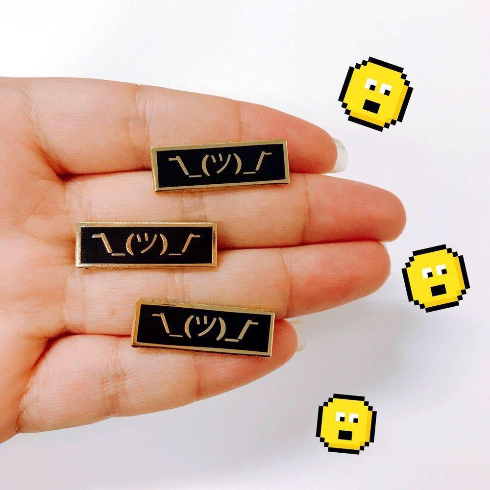 Shrug Emoji Hard Enamel Pin By Ohyoufox On Etsy Enamel Pins Emoji Pin Shrug Emoji
