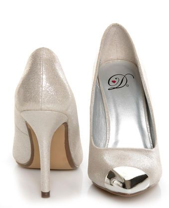 My Delicious Expo Silver Shimmer Pointed Cap-Toe Pumps