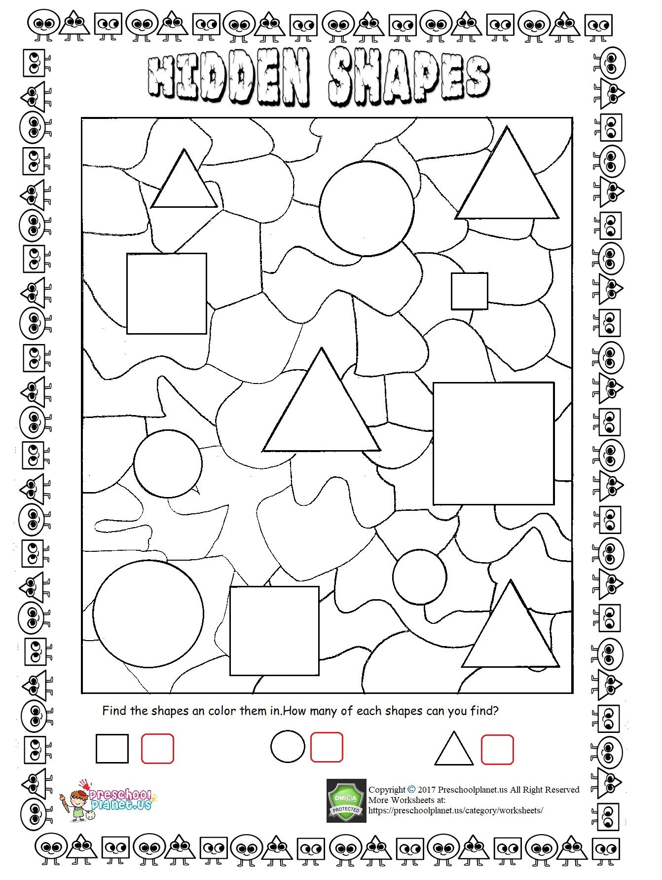 Hidden Pictures For Preschoolers Worksheet