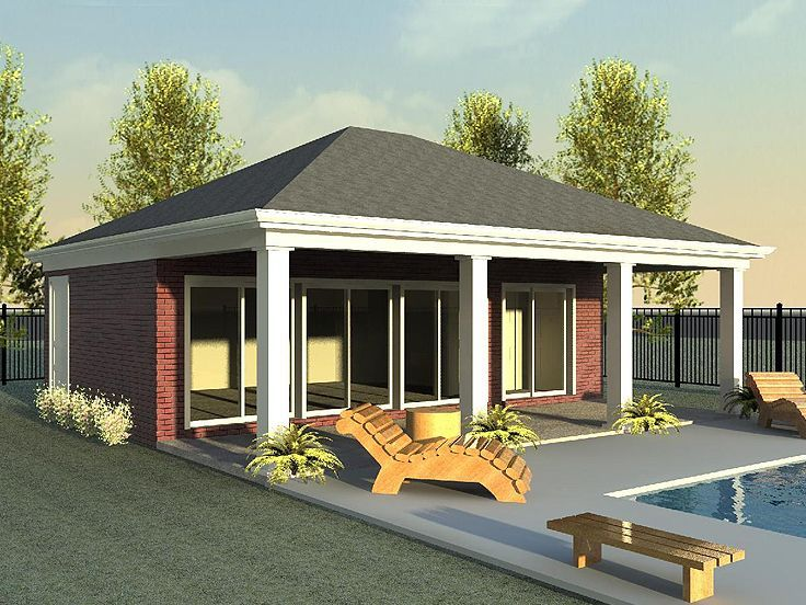 006p 0019 Pool House Plan With Veranda Kitchen And Bath Pool House Designs Pool House Plans Pool House