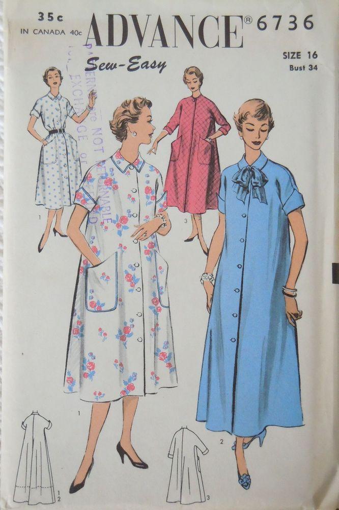 Vintage 1950\'s Advance Pattern #6736-Housecoat-Robe-Duster-UnCut ...
