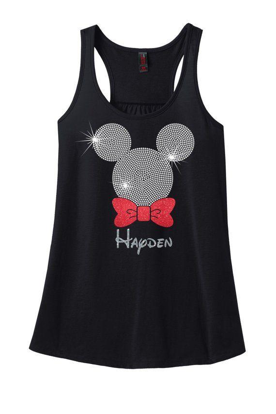 9536848b0 Adult Mickey Mouse Glitter and Rhinestone Racerback, Mickey Mouse  Rhinestone Shirt, Disney Vacation