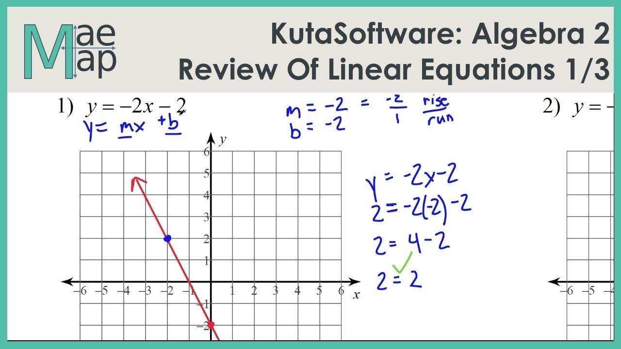 Kutasoftware Algebra 2 Review Of Linear Equations Part 1 Youtube Linear Equations Algebra Equations [ 720 x 1280 Pixel ]
