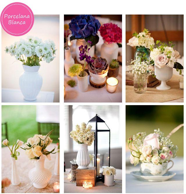 Porcelana blanca como centro de mesa.Se vemuy fresco pero combinado con velas se puede ver muy elegante también.