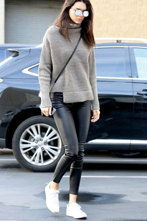 What to Wear Running Errands: Ribbed Funnel-Neck Sweater, Faux Leather Leggings