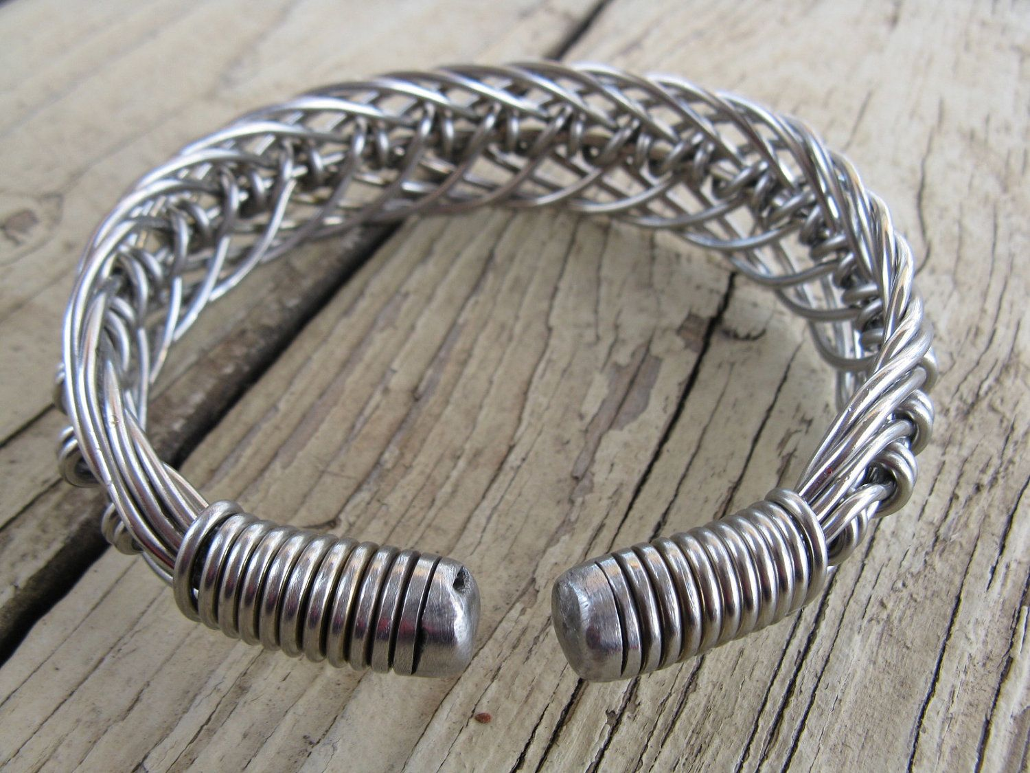 Men S Stainless Steel Hand Bent Wire Woven Wide Cuff