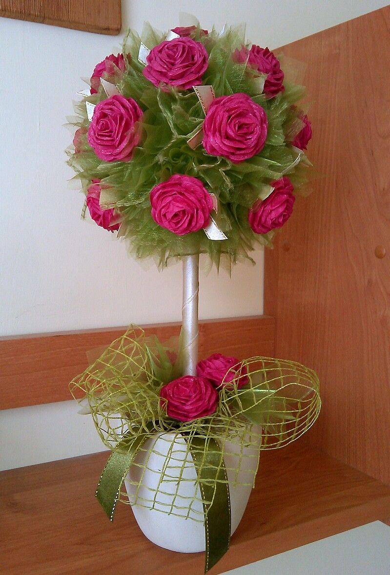 Drzewko Z Kwiatami Z Bibuly I Szyfonem Diy