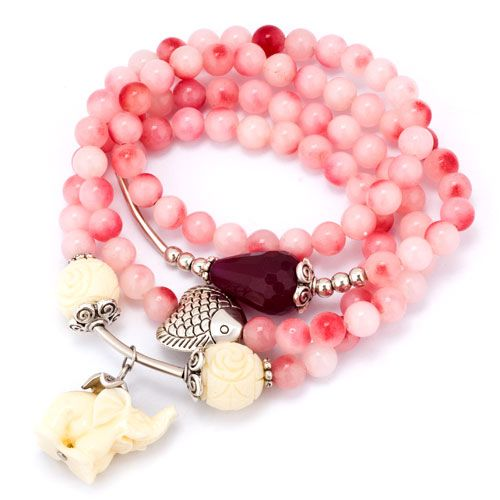 Hot Pink Opal Beads White Elephant Dangle Multilayer Charms Bracelet Pugster.com